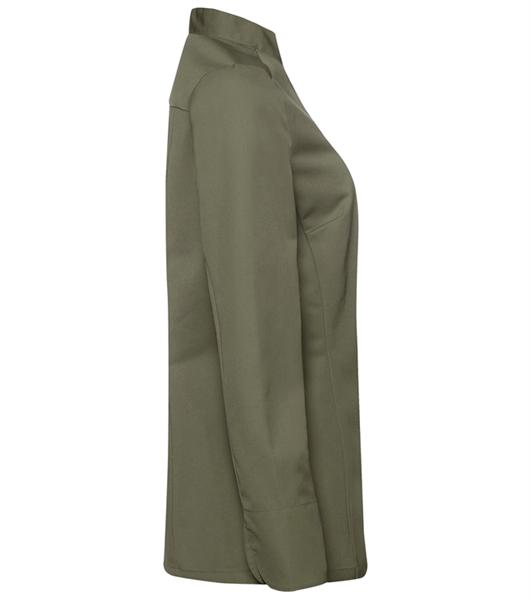 Kokinpaita 1014-201 naisten oliivinvihreä pitkähihainen sivusta